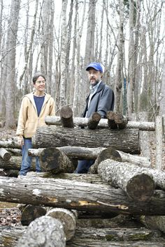 Jane and Darin with newly plugged shiitake logs.