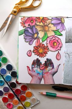 @punkprojects | Flowers Falling | Season of Happy | Get Messy Art Journal