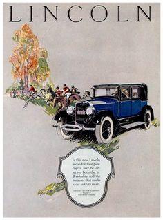 Lincoln Ad (1925): 4-Passenger Sedan - Illustrated by Floyd Brink