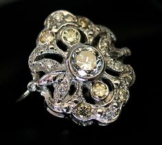 Art Deco Ring with 1ct of Yellow & White Diamonds set in Platinum from divinefind on Ruby Lane