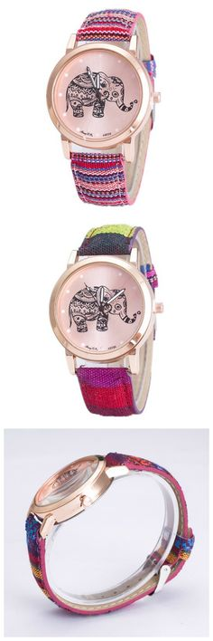 Boho Fashion Colorful Elephant Case Wrist Watch