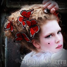 Butterfly hair clip Monarch - RED on Etsy, $5.00