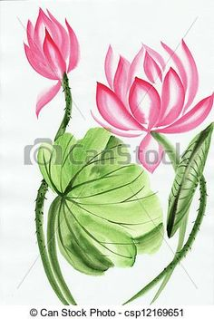 Stock Photo - Watercolor painting of pink lotus flower - stock image, images, royalty free photo, stock photos, stock photograph, stock photographs, picture, pictures, graphic, graphics