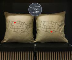 Vintage MILITARY Souvenir Pillow Cover US ARMY Camp Blanding - Us map pillow personalized