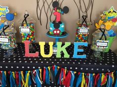 Sweet Simplicity Bakery: Mickey Mouse Clubhouse Dessert and Candy Buffet Table Display; Cardstock Wrapped Wood Letters & Smash Cake