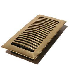 "Contemporary Design: 4X10"" Solid Brass Floor Register - Bright Brass (Available in Aluminum)"