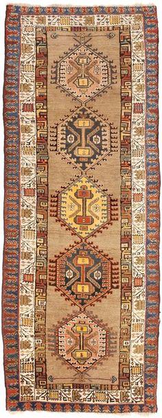 """Antique Caucasian runner rug. . 3'10""""x 9'10"""" #NasserLuxuryRugs #Tribal"""