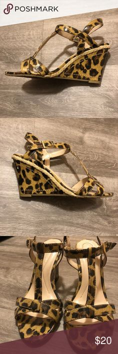 Leopard Print Wedges Women's leopard print strappy wedges.  In good condition. Andrew Geller Shoes Wedges
