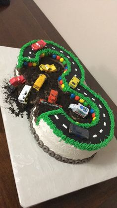 Cars 3 birthday cake for 3 year old with race track and fun mud pit | Cake Creations by Leah