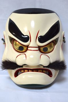 Japanese Traditional Mask Samurai SUSANOH Demon Noh Kagura Kabuki Bugaku, Signed in Antiques, Asian Antiques, Japan, Other Japanese Antiques | eBay