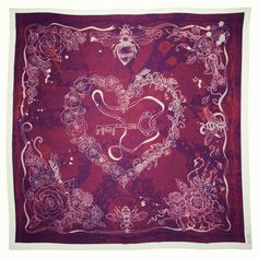 Our Key to My Dark Heart scarf at Coco de mer Monmouth street only. Valentines Exclusive. 90x90cm, pure silk. Made in England.
