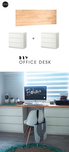 DIY Desk with two drawers and a piece of wood | TOMFO