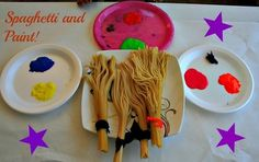 Paint with spaghetti brooms what fun for the artist badges
