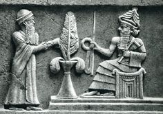 Ur-Namma (left) in the presence of Enlil, with the Tree of Life between them.