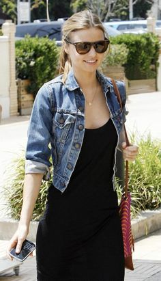 Denim jacket with black dress. Classic choice I always forget about.