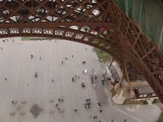 A view down the first floor of Eiffel tower in Paris, France. Great place to have different views :)