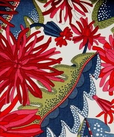Becci C Tana Lawn from the SS12 Glencot House collection.     Inspiration for this design came whilst a member of the Liberty Art Fabrics team was reclining on an old patterned chair in the drawing room at Glencot House in Somerset. A layered design of leaves and flowers creates three dimensions drawn from the gardens at Glencot.