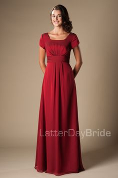 modest bridesmaid dress features gentle ruching on the bodice, a lovely cinched waistband, and gentl Bridesmaid Dresses With Sleeves, Modest Wedding Dresses, Wedding Party Dresses, Formal Dresses, Prom Dresses, Formal Wedding, Long Dresses, Simple Long Dress, Look Chic