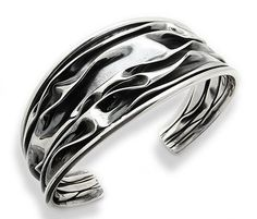 """Wrinkled Unique Antiqued Crushed Can Sterling Silver Cuff Bracelet Silver Insanity. $99.97. 1"""" Wide in the Center. Weight is 24 Grams. Marked .925. Fits up to a 7.25"""" Wrist (Unadjusted)"""