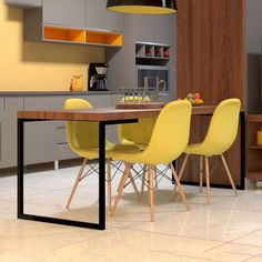 Conjunto com 2 Cadeiras Eames Eiffel Botonê Amarelo Decor, Bamboo Chair Makeover, Black Dining Chairs, Accent Chairs For Living Room, Dining Room Chairs, Home Decor, Eames Rocking Chair, Walmart Kitchen Chairs, Desk Chair Comfy
