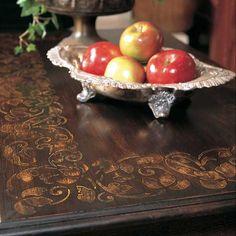 Stencil a border design on a plain coffee table | Scrolling Leaves Stencil | Royal Design Studio
