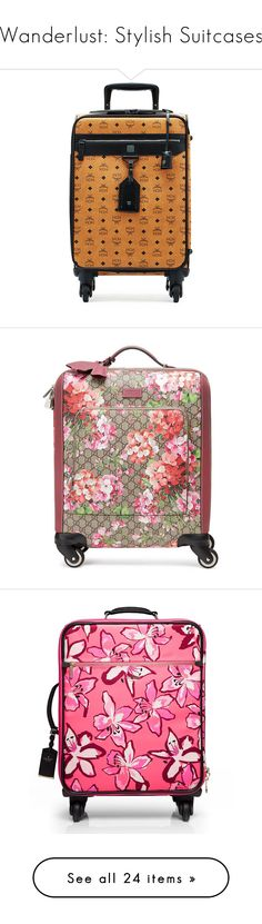 """""""Wanderlust: Stylish Suitcases"""" by polyvore-editorial ❤ liked on Polyvore featuring stylishsuitcases, bags, luggage, black, cognac, home travel luggage, men's fashion, men's bags, pink and mens leather carry on bags"""