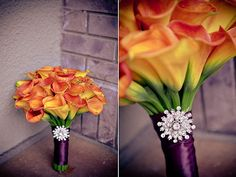 Orange calla lilies with purple wrap and rhinestone brooch. Gorgeous. :)
