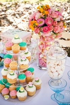 garden party with cupcake tower