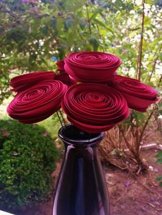 Wine Red Paper Flowers - Handmade Rolled Paper Flower Bouquet for Christmas, Fall, Autumn, Brides, Weddings, Showers, Birthdays.