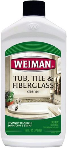 Weiman Tub, Tile & Fiberglass Cleaner tackles even the toughest heavy-duty stains, soap scum, hard water spots, and lime deposits without leaving a scratch. Bathtub Cleaner, Diy Bathtub, Shower Cleaner, Diy Cleaning Products, Cleaning Solutions, Cleaning Hacks, Diy Products, Pool Cleaning, Spring Cleaning