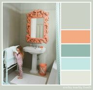 Coral, Teal, Gray Color Scheme Ideas For The Kids Bathroom, Want To Stick  With Orange/coral, Blue And Tan Part 39
