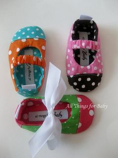 Baby girl shoes polka dot custom mary jane by allthingsforbaby, $27.00