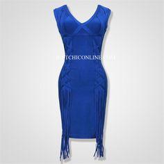 """""""Evelyn"""" Fringe Royal Blue Bandage Dress"""