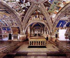 Inside the lower church, Basilica di San Francesco, Assisi