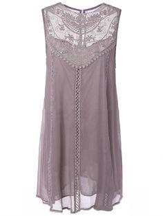 Round Neck Hollow Out Plain Chiffon Shift Dress - fashionMia.com