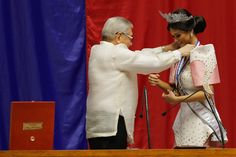 2015 Miss Universe Pia Wurtzbach receives the Congressional Medal of Distinction conferred by House Speaker Sonny Belmonte at the House of Representatives in Quezon City on Tuesday. The distinction...