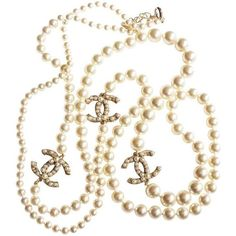 "Authentic Chanel CC Pearl 60"" Necklace featuring polyvore, fashion, jewelry, necklaces, accessories, jewels, pearl jewellery, pearl necklace, jewel necklace, chanel jewelry and chanel jewellery"