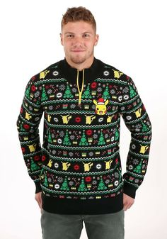 Great for Adult Festive Pokemon Ugly Christmas Sweater mens ugly christmas sweater from top store Mens Ugly Christmas Sweater, Ugly Sweater, Men Sweater, Naughty Santa, Knitting Designs, Back To Black, Being Ugly, Snug Fit, Rib Knit