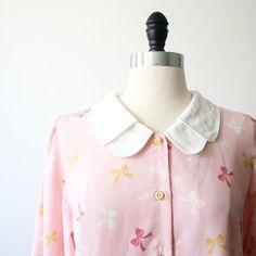 Japanese Vintage Blouse Blush Pink Blouse Bow by StandardVintage, $44.00
