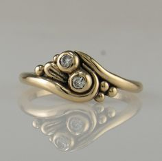 14ky Gold Moissanite Ring One of a Kind by DenimAndDiaJewelry