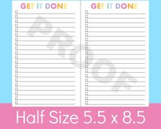 a5 Planner Pages, To Do List Printable, Half Size Planner Pages, great for discbound planners like Arc or Circa