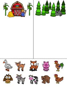 Animal Sort - Farm Animals and Forest Animals by Language and Literacy - UBAM Sorting Activities, Animal Activities, Teaching Activities, Preschool Activities, Preschool Printables, Farm Animals Preschool, Farm Lessons, Farm Unit, Animal Worksheets