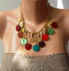 Button Necklace with Chain-I think I would like this w/crochet chain stitch too