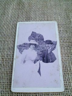Old photo CDV man and woman maple leaf design by Trinketicity, $3.50