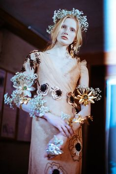 Leah Rodl backstage for Rodarte Spring 2018 World Of Fashion, Fashion Art, Editorial Fashion, Women's Runway Fashion, Fantasy Gowns, Couture Details, Timeless Fashion, Floral Lace, Wedding Inspiration
