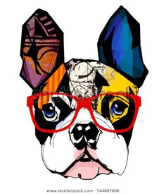Portrait of french bulldog wearing sunglasses royalty-free stock vector art Portrait of french bulldog wearing sunglasses - Vector illustration Boston Terrier Kunst, Boston Terrier Love, Boston Terriers, Boston Terrier Tattoo, French Bulldog Drawing, Cute French Bulldog, Tableau Pop Art, Dog With Glasses, Hipster Glasses