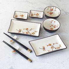 Dragonfly Crackle Sushi Set.