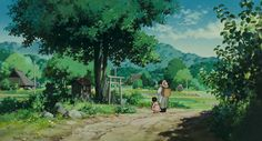 Nature Art Of Studio Ghibli's Pom Poko - Art Direction Kazuo Oga Aesthetic Drawing, Aesthetic Anime, Studio Ghibli, Pom Poko, Naruto, Landscape Concept, Scenery Wallpaper, Green Nature, Animation