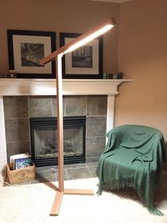 DIY Wood LED Standing Floor Lamp