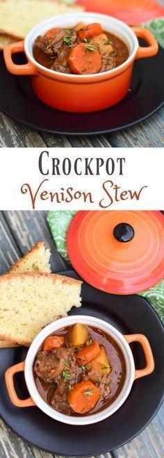 Crockpot Venison Stew                                                                                                                                                                                 More Venison Stew Slow Cooker, Crockpot Venison Recipes, Cooking Venison, Venison Chili, Venison Meals, Deer Roast Crockpot, Stew In Crockpot, Cooker Recipes, Crock Pot Slow Cooker